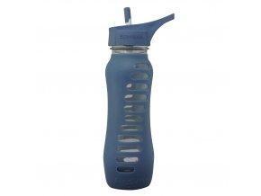 Skleněná láhev Eco Vessel 650 ml s brčkem modrá
